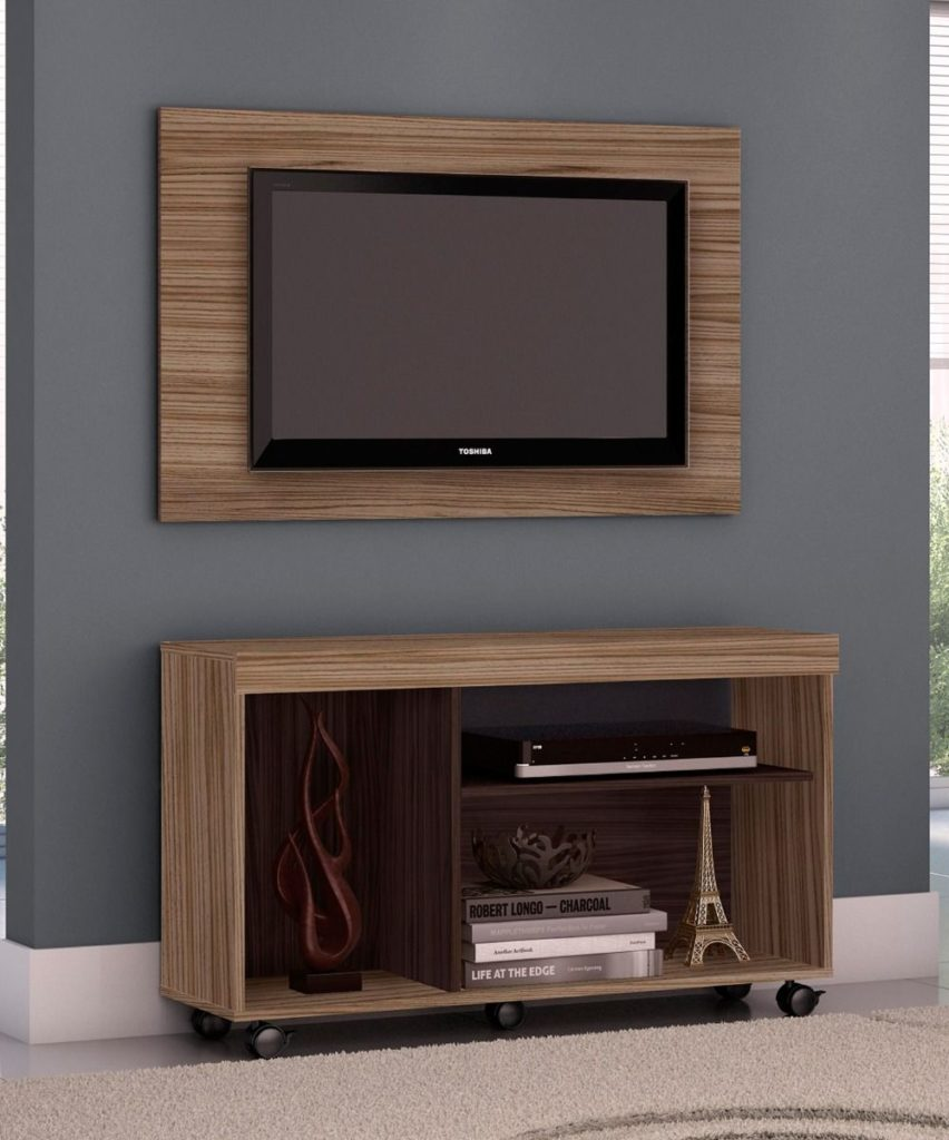 Combo Panel y Mueble para TV Bruno Almendra Ebano